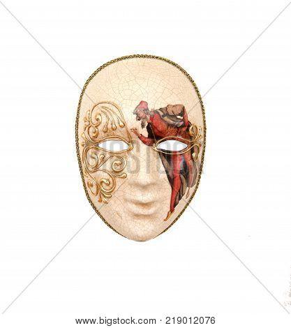 Venetian carnival mask isolated on white background