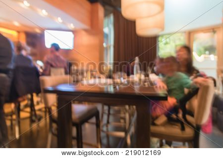 Abstract Blurred Compact Japanese Bar And Restaurant In America