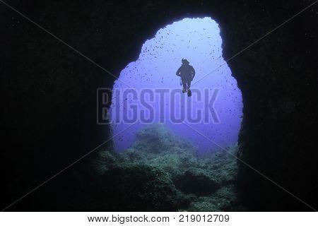 Diving in underwater cave - Majorca, Spain