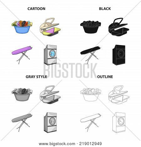 A bowl with laundry, ironing machine, washing machine, ironing board. Washing and cleaning set collection icons in cartoon black monochrome outline style vector symbol stock Isometric illustration .