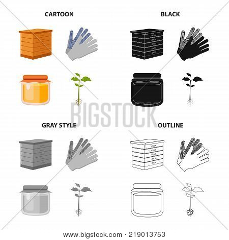 Hive for bees, gloves for work on the farm, honey in the pot, plant for planting. Farm set collection icons in cartoon black monochrome outline style vector symbol stock illustration .