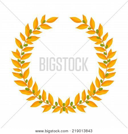 Gold laurel wreath. Vintage wreaths heraldic design elements with floral frames made up of laurel branches with green berries on white background. Symbol of winner or valor and mind. Vector illustration
