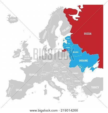 Former Union of Soviet Socialist Republics, USSR, Russia, Ukraine, Belarus, Estonia, Latvia, Lithuania and Moldova in the political map of Europe. Vector illustration.