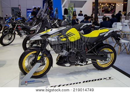 Bangkok Thailand - December 11 2017: Suzuki V-Strom sport touring motorcycle presented in Motor Expo 2017