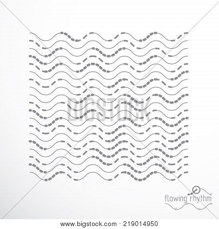 Abstract wavy lines vector illustration. Technical cybernetic pattern can be used in web design and as background.