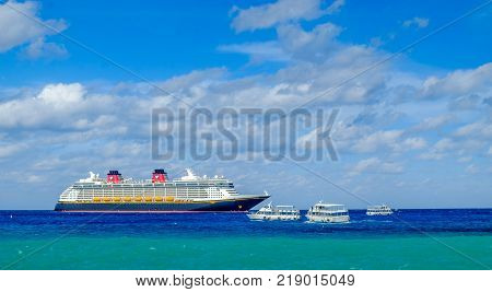 Grand Cayman, Cayman Islands, Dec 2017, cruise ship with marine shuttles on the Caribbean Sea near George Town port