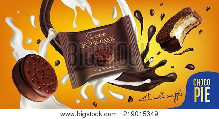 Vector realistic illustration of chocolate pie with milk souffle. Horizontal ads poster with sweets.
