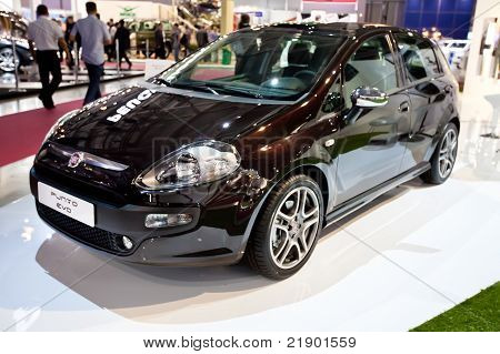 Moscow, Russia - August 25:  Black Car Fiat Punto Eco At Moscow International Exhibition Interauto O