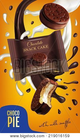 Vector realistic illustration of chocolate pie with milk souffle. Vertical ads poster with sweets.