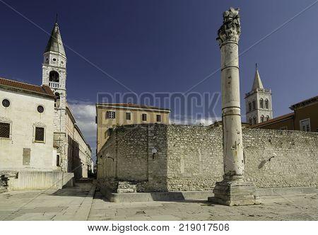 Pillar of Shames in front of the St Elias's Church in Zadar Croatia