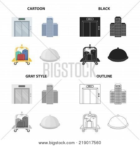 The elevator doors, the hotel building, the luggage trolley, the cloak .Hotel set collection icons in cartoon black monochrome outline style vector symbol stock illustration .