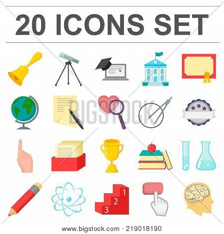 School and education cartoon icons in set collection for design.College, equipment and accessories vector symbol stock  illustration.