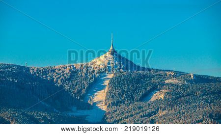Morning sunrise at Jested Mountain and Jested Ski Resort. Winter time mood. Liberec, Czech Republic.