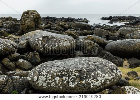 rocks of the Giant's Causeway on the northern coast of Northern Ireland