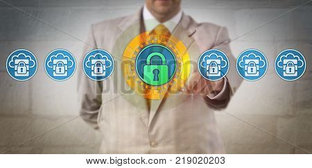 Unrecognizable service provider is bringing more data centers online while maintaining high level information security. Technology concept for access control and increase in cloud storage capacity.