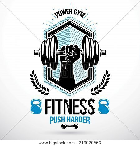 Graphic vector insignia created with strong sportsman biceps arm holding disc weight dumb bell and with kettle bell sport equipment. Gym weightlifting and fitness sport club emblem