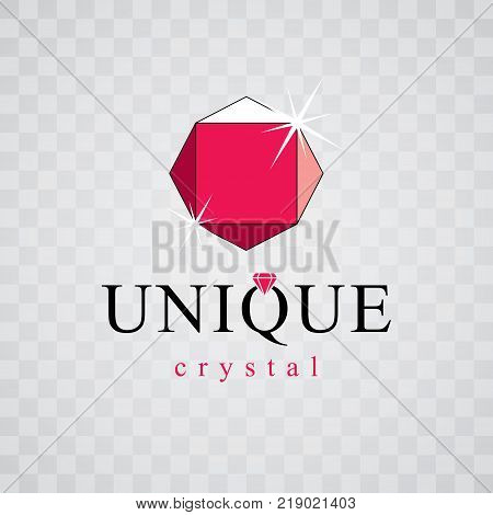 Vector faceted gemstone illustration with sparkles polygonal. Brilliant jewelry sign emblem logo.