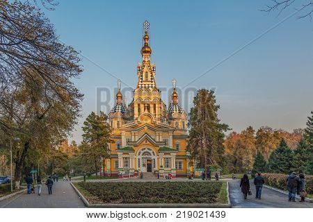 ALMATY, KAZAKHSTAN - NOVEMBER 5, 2014: The Ascension Orthodox Cathedral at sunset
