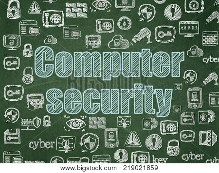 Security concept: Chalk Blue text Computer Security on School board background with  Hand Drawn Security Icons, School Board