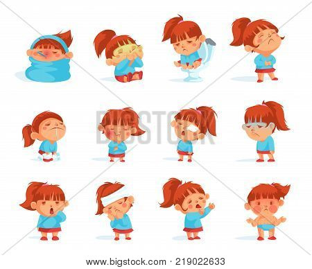 Cartoon collection of sick child figurines  infected virus having high temperature suffering from headache flat isolated vector illustration