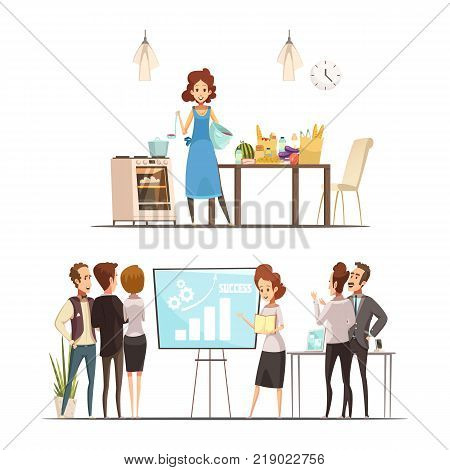 Motherhood 2 retro cartoon work family balance concept with  cooking home and successful business presentation isolated vector illustration