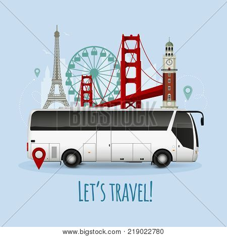 Realistic touristic bus with european landmarks including eiffel tower and ferris wheel on blue background vector illustration