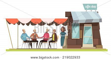Family in coffee shop design composition with cartoon figurines of young woman and four elderly men talking at leisure vector illustration