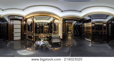 MINSK BELARUS - OCTOBER 6 2016: Panorama in vip restroom in elite luxury casino. Full 360 by 180 degree seamless spherical panorama in equirectangular projection. VR content