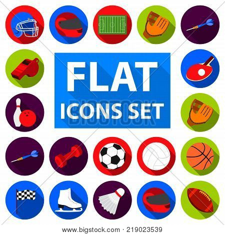 Different kinds of sports flat icons in set collection for design. Sport equipment vector symbol stock  illustration.