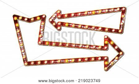Retro Billboard Vector. Realistic Shine Lamp Frame. 3D Electric Glowing Element. Vintage Golden Illuminated Neon Light. Carnival, Circus, Casino Style. Isolated Illustration