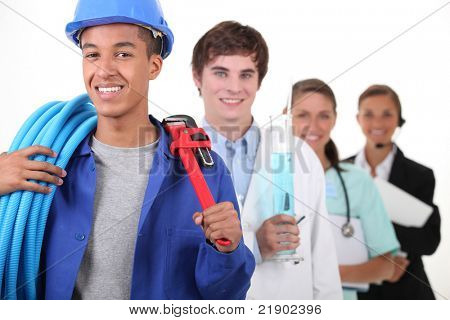 Four different professions with focus on plumber