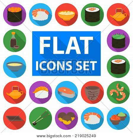 Sushi and seasoning flat icons in set collection for design. Seafood food, accessory vector symbol stock  illustration.