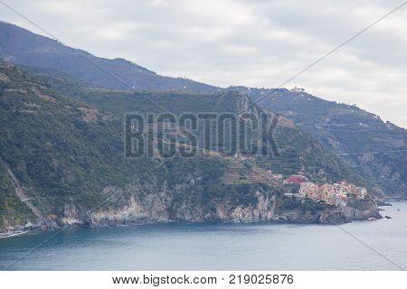 The village of Manarola on the sea of the Ligurian coast in Cinque Terre Italy.