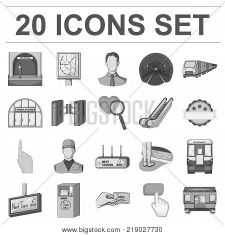 Metro, subway monochrome icons in set collection for design.Urban transport vector symbol stock  illustration.