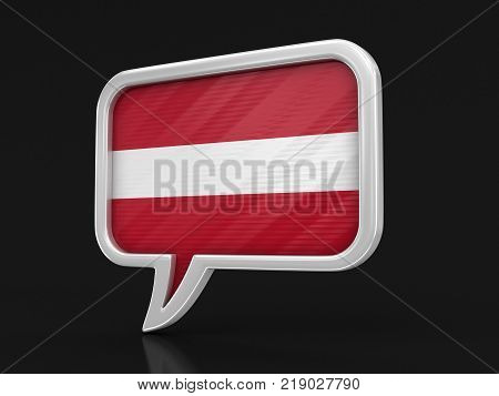 3d illustration. Speech bubble with Latvian flag. Image with clipping path