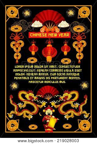 Happy Chinese New Year greeting card of hieroglyph wishes and traditional China symbols of dragon, red fan or paper lanterns and fireworks. Vector Emperor scroll for Chinese lunar new year holiday