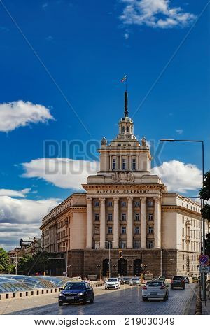 Sofia, Bulgaria - September 12, 2017: National Assembly former Communist Party House Council of Ministers and the Presidency buildings on Independence square in Sofia, Bulgaria