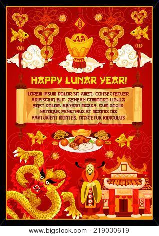 Happy Lunar Year greeting card for Chinese New Year celebration. Oriental Spring Festival pagoda, dragon and god of wealth banner, adorned by lucky coin, gold ingot and parchment with greeting wishes