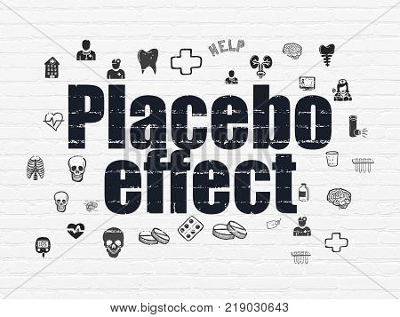 Healthcare concept: Painted black text Placebo Effect on White Brick wall background with  Hand Drawn Medicine Icons