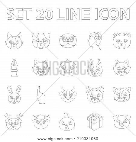 Muzzles of animals outline icons in set collection for design. Wild and domestic animals vector symbol stock  illustration.