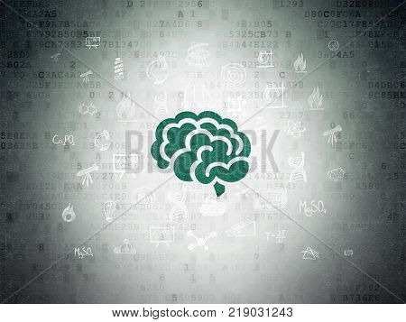 Science concept: Painted green Brain icon on Digital Data Paper background with  Hand Drawn Science Icons