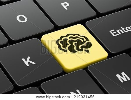 Science concept: computer keyboard with Brain icon on enter button background, 3D rendering