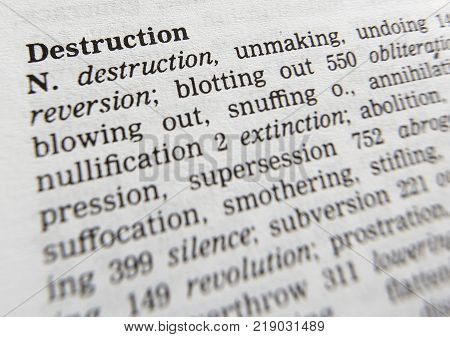 CLECKHEATON, WEST YORKSHIRE, UK: THESAURAS PAGE SHOWING DEFINITION OF WORD DESTRUCTION, 30TH MARCH 2005, CLECKHEATON, WEST YORKSHIRE, UK