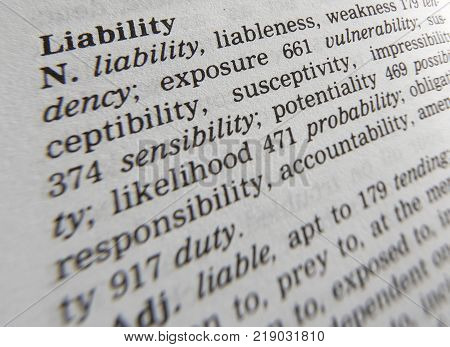 CLECKHEATON, WEST YORKSHIRE, UK: THESAURUS PAGE SHOWING DEFINITION OF WORD LIABILITY, 30TH MARCH 2005, CLECKHEATON, WEST YORKSHIRE, UK