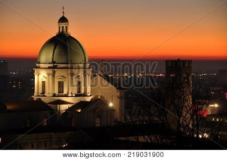 Panoramic view of the city of Brescia with the light of the sunset - Lombardy - Italy