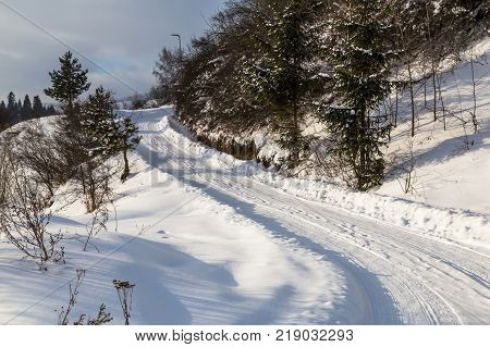 Mountain landscape. Snow-covered mountain road. Western Tatras. Winter in Slovakia.