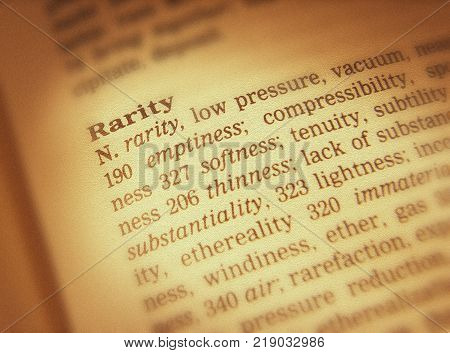 Cleckheaton, West Yorkshire, Uk: Thesaurus Page Showing Definition Of Word Rarity, 30th March 2005,
