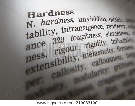 Cleckheaton, West Yorkshire, Uk: Thesaurus Page Showing Definition Of Word Hardness, 30th March 2005