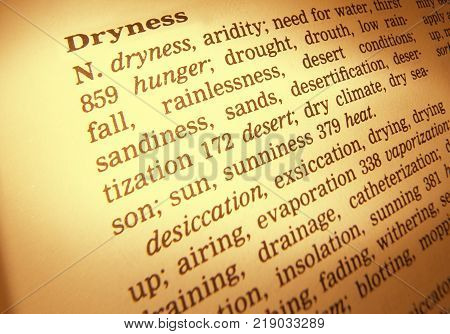 Cleckheaton, West Yorkshire, Uk: Thesaurus Page Showing Definition Of Word Dryness 30th March 2005,