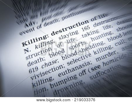 Cleckheaton, West Yorkshire, Uk: Thesaurus Page Showing Definition Of Words Killing Destruction 30th